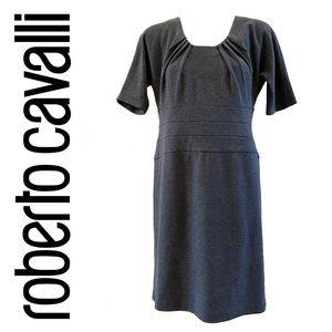 ROBERTO CAVALLI Class grey wool blend sheath dress